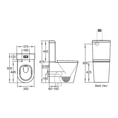 AVIS Compact Rimless Toilet Suite Specification Drawing