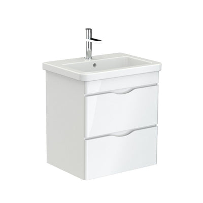 Bergamo 60 x 45 Wall Hung White Gloss Vanity with Ceramic Top