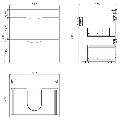 Bergamo 60 x 45 Wall Hung Vanity Specification Drawing