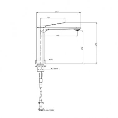 RUSHY Brushed Gun Metal Grey Tall Basin Mixer Tap Specification Drawing