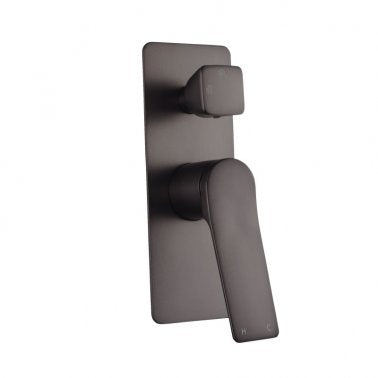RUSHY Square Brushed Gun Metal Grey Wall Mixer With Diverter