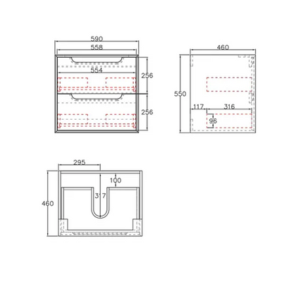 Inspire Bathware BYRON Wall Hung Vanity 600mm Specification Drawing