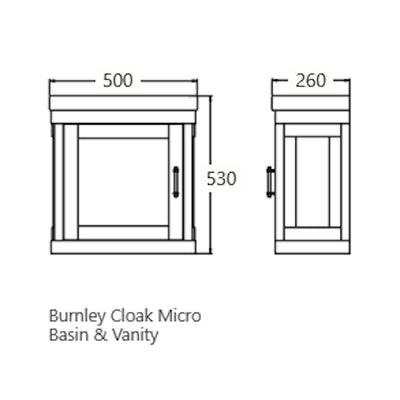 BURNLEY 500x260 Room Basin & Vanity Unit Specification Drawing