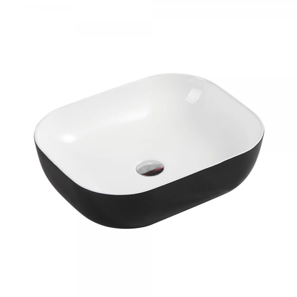 CHUR Rectangular Oval Counter Top Basin Black and White 490x395mm