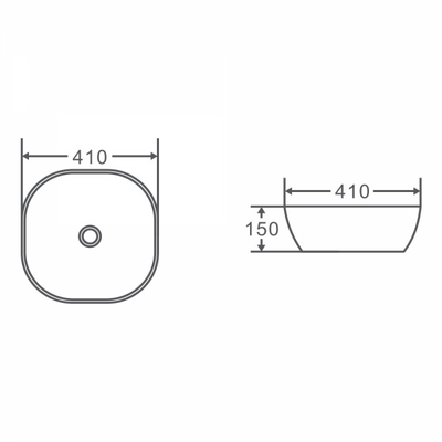 CHUR Round Counter Top Basin 410mm Specification Drawing