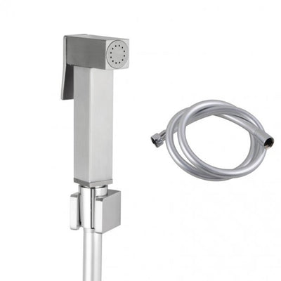 Square Brass Brushed Nickel Toilet Bidet Spray with 1.2m PVC Hose