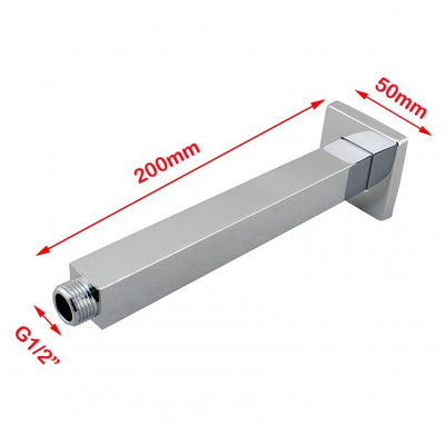 BLAZE Square Chrome Ceiling Shower Arm 200mm Specification Drawing