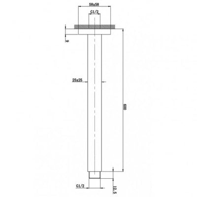BLAZE Square Chrome Ceiling Shower Arm 600mm Specification Drawing