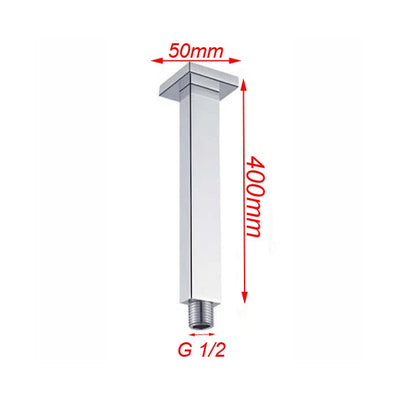 BLAZE Square Chrome Ceiling Shower Arm 400mm Specification Drawing