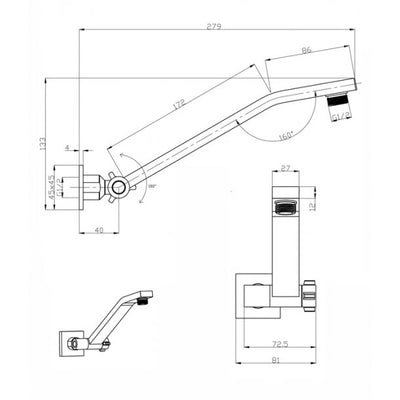 BLAZE Square Chrome Swivel Wall Mounted Shower Arm Specification Drawing
