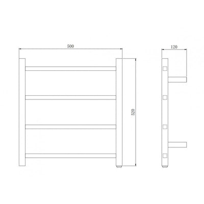 4 Bar Heated Towel Rail Specification Drawing