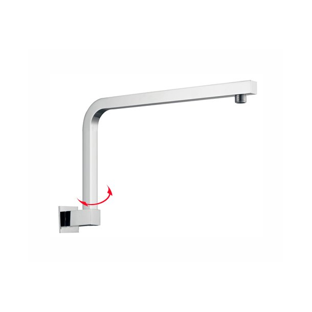BLAZE Square Chrome Swivel Gooseneck Shower Arm