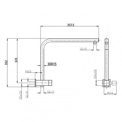 Square Chrome Shower Station 200mm Specification Drawing