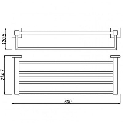 BLAZE Chrome Towel Rack 600mm Specification Drawing