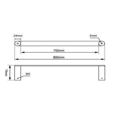 RUSHY Chrome Single Towel Rail 800mm Specification Drawing