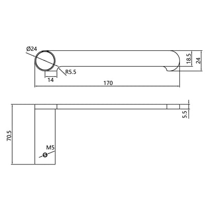 Norico Esperia Toilet Paper Hook Specification Drawing