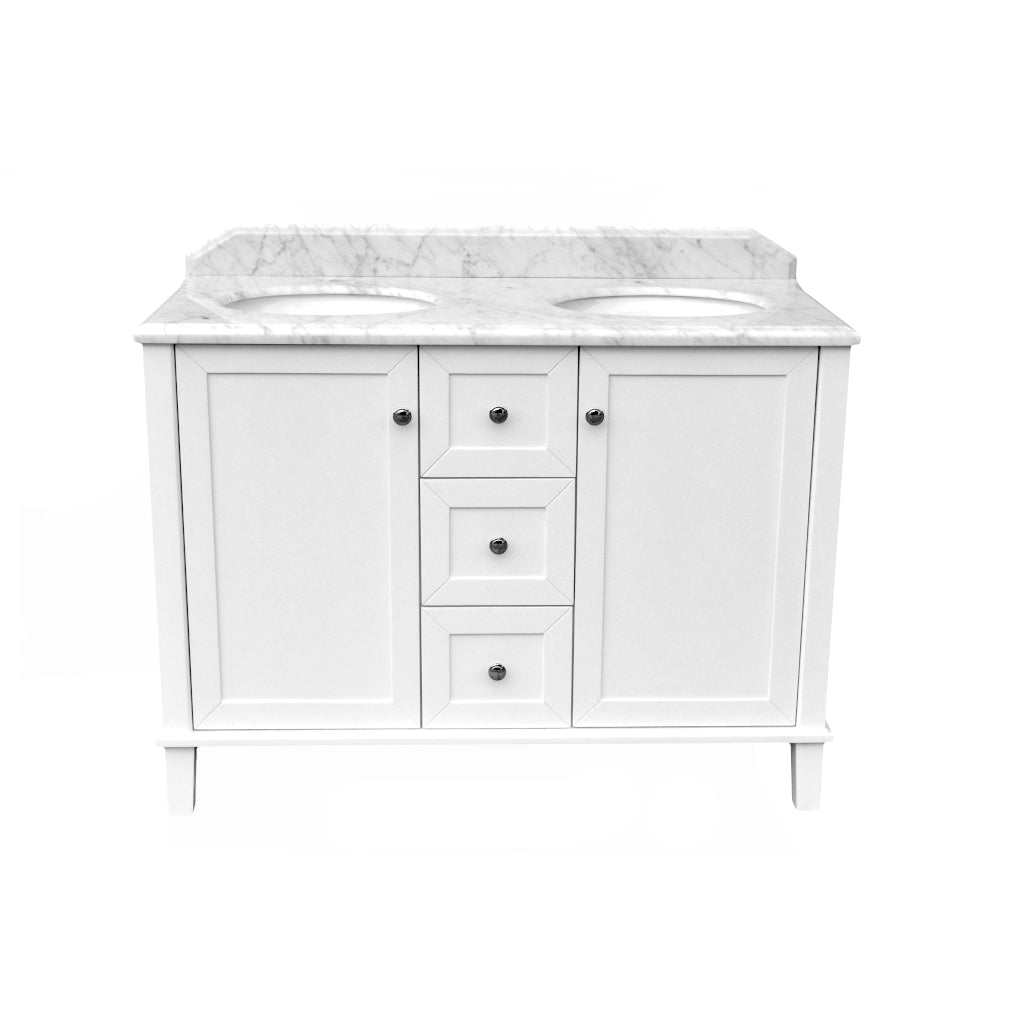COVENTRY 1200 x 550 Double Bowl Satin White Vanity with Real Marble Top & Ceramic Undercounter Basins