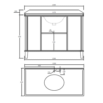 COVENTRY 1200 x 550 Single Bowl Satin White Vanity with Real Marble Top & Ceramic Undercounter Basin Specification Drawing