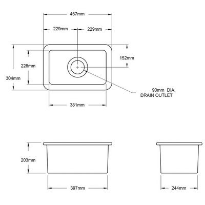 Cuisine 30 x 46 Inset / Undermount Fine Fireclay Sink Specification Drawing