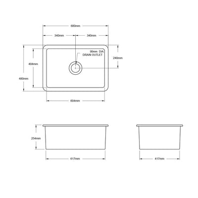 Cuisine 68 x 48 Inset / Undermount Fine Fireclay Sink Specification Drawing