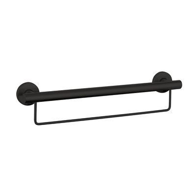 Grab Rail With Towel Rail 600mm Matte Black