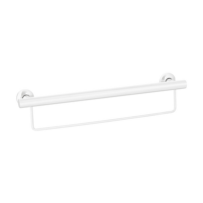 Grab Rail With Towel Rail 600mm White