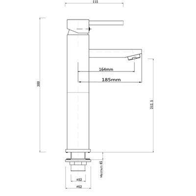 Norico Pentro Round Tall Basin Mixer Specification Drawing