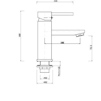 Norico Pentro Round Basin Mixer Specification Drawing