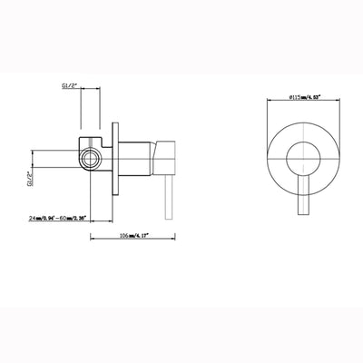 Norico Pentro Round Shower Mixer Tap Specification Drawing