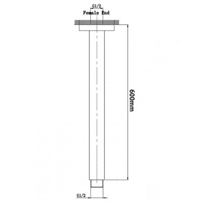 BLAZE Square Gun Metal Grey Ceiling Shower Arm 600mm Specification Drawing