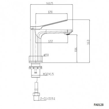 RUSHY Gun Metal Grey Basin Mixer Specification Drawing
