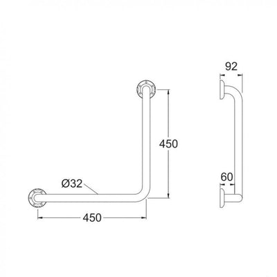 32mm Ambulant Grab Rail 450x450mm Specification Drawing