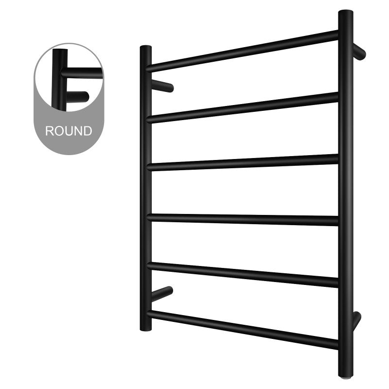 6 Bar Round Heated Towel Rail Black