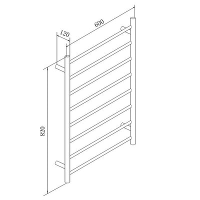 8 Bar Round Heated Towel Rail Black Specification Drawing
