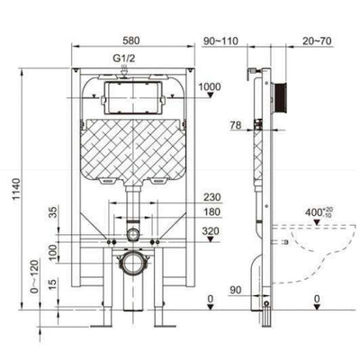 Dexter+ In wall toilet cistern with frame specifications sheet