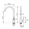 Norico Pentro Kitchen Mixer Specification Drawing