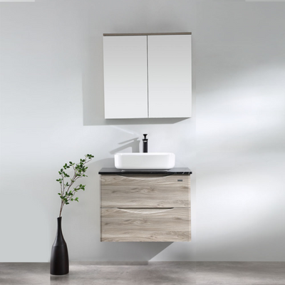 LUNA Wood Grain Wall Hung Vanity 750mm