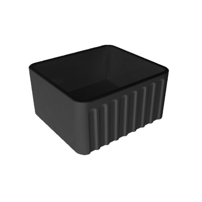 NOVI 500x460 Fine Fireclay Butler Sink Black Ribbed