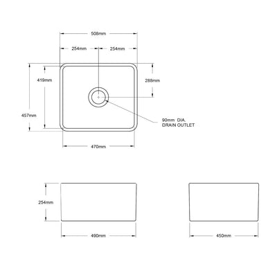 NOVI 500x460 Fine Fireclay Butler Sink Specification Drawing