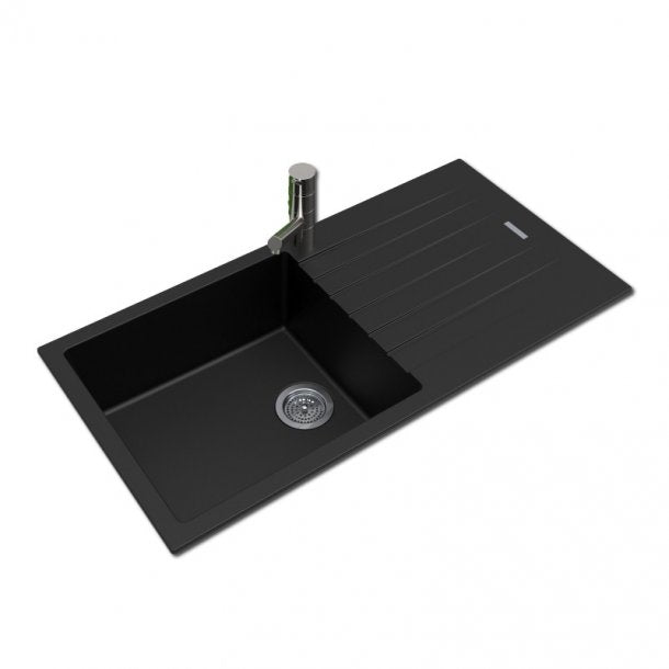 ARETE Black Granite Quartz Stone Kitchen Sink with Drainboard 1000x500mm