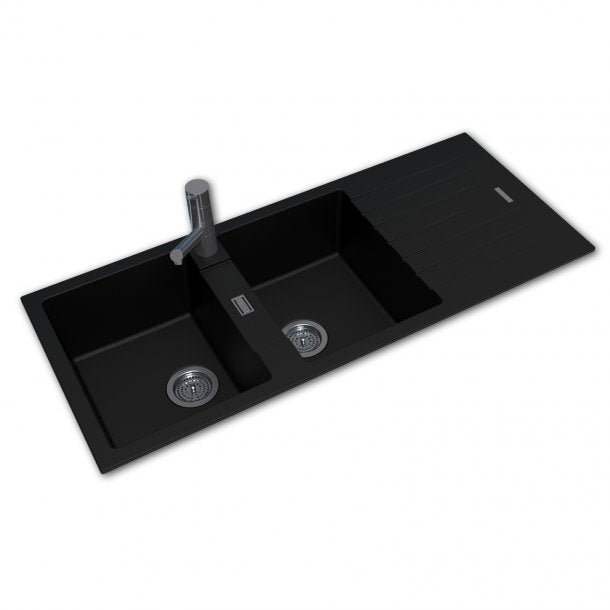 ARETE Black Granite Quartz Stone Double Kitchen Sink with Drainboard 1160x500mm