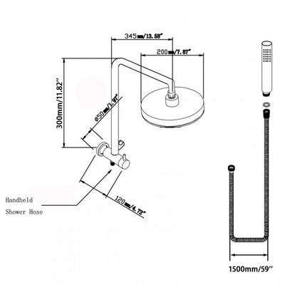 Round Black Shower Station 200mm Specification Drawing