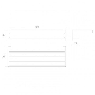 SERA Black Double Towel Holder 600mm Specification Drawing