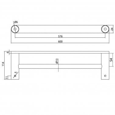 RUSHY Black Double Towel Rail 600mm Specification Drawing