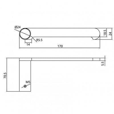 RUSHY Black Toilet Paper Holder Specification Drawing