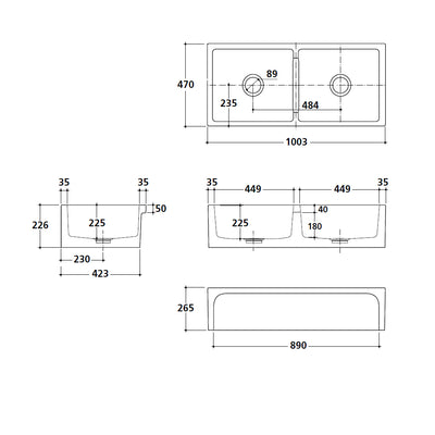 PATRI series Double bowl butler sink Specification Drawing
