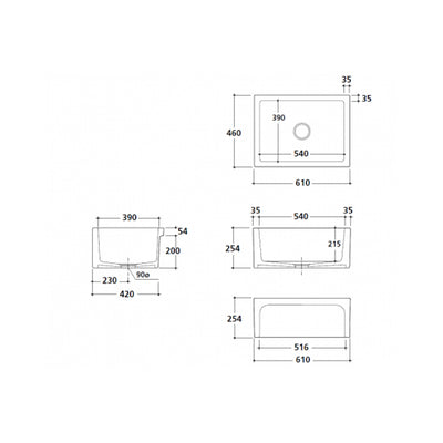 PATRI series Single Bowl Butler Sink Specification Drawing