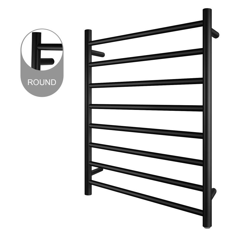 8 Bar Round Heated Towel Rail Black