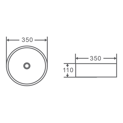 SASSO Round Counter Top Basin 350mm Specification Drawing