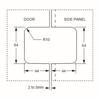 Shower Screen Hinge - 180° Glass to Glass Specifications Drawing